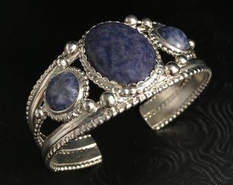 Sodalite Abstract Statement Bracele Cuff 925, Handmade Large Bracelet, Artisan Boho Cuff Bracelets, Onyx Bohemian Cuff Bracelets Gemstone