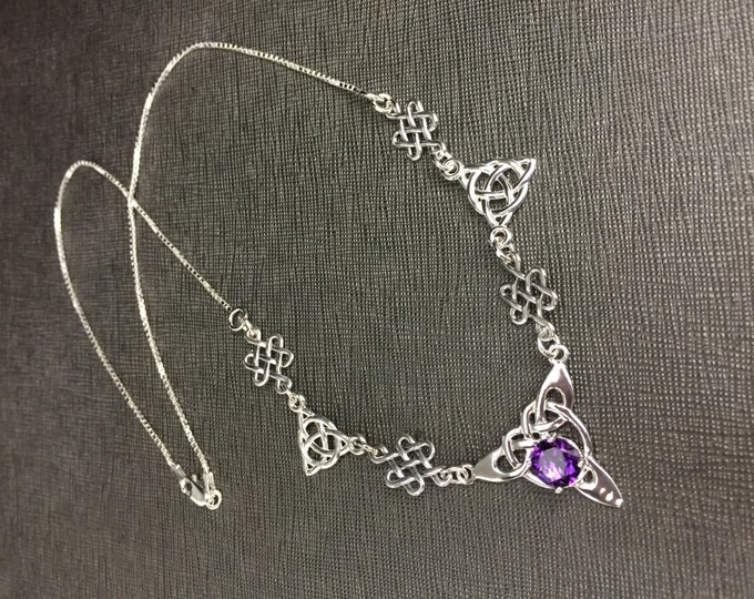 Celtic Knot Amethyst Sapphire Emerald Sterling Silver Necklaces, Irish Necklaces, Gifts For Her, Birthday Gifts, Irish Jewelry