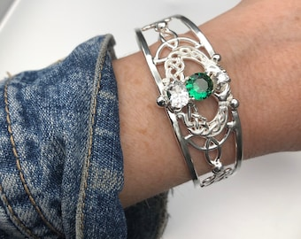 Celtic Knot Claddagh Emerald Bracelet Sterling Silver, Irish Statement Artisan Cuff Bracelet, Gifts For Her, Scottish Bracelets