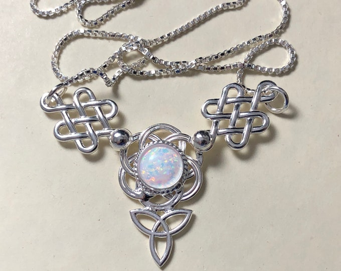 Irish Celtic Knot Necklace with Moonstone in Sterling Silver, Scottish Necklaces, Gifts For Her, Pictish Jewelry, Symbolic