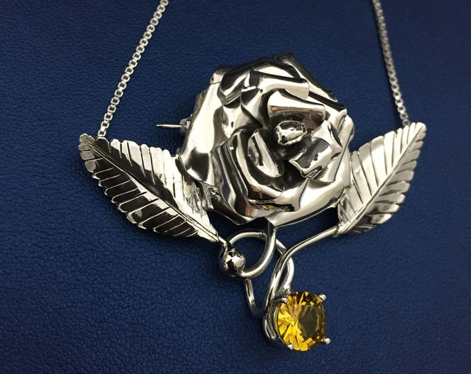 Sterling Silver Roses Floral Necklace, Statement Rose Sterling Silver Rose Pendant, 15 Inch Box Chain, OOAK Custom Handmade Rose Jewelry