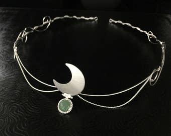 Goddess Crescent Moon Tiara in Sterling Silver, Moon Tiaras, Celestial Headpiece, SCA Forehead Jewelry, Pagan Moon Tiara