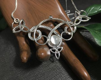 Renaissance Celtic Gemstone Necklace in Sterling Silver, Handmade Artisan Bohemian Celtic Necklaces, Gifts for Her, Wedding Necklaces, Love
