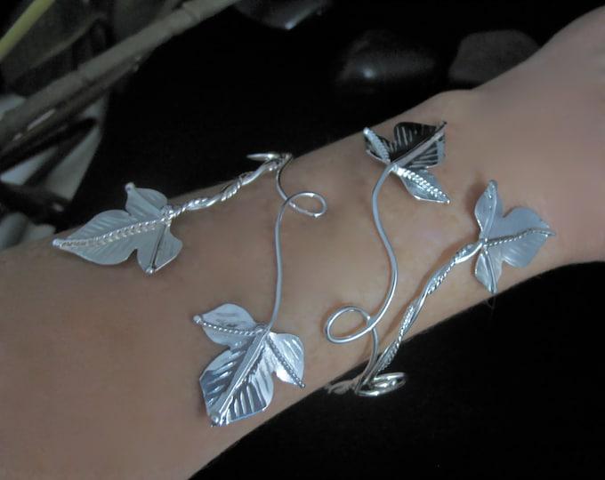 Ivy Leaf Wrap Bracelet Cuff, Handmade, OOAK, Sterling Silver, Woodland Leaf Wrist Bracelet Arm Wrap