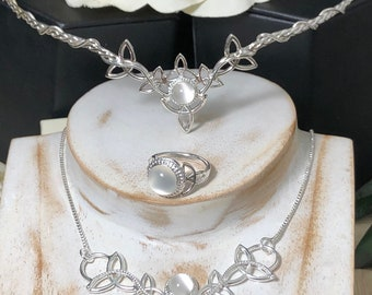 Celtic Ring, Necklace and Tiara Set with Moonstones in Sterling Silver, Artisan Irish Jewelry Set Combo, 925 Celtic Circlet, Irish Diadem,