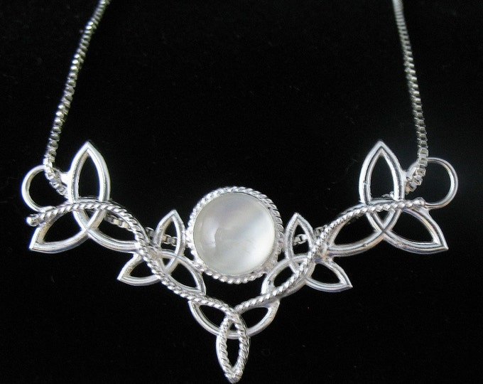 Sterling Silver Celtic Trinity Knot Pendant Necklace with Moonstone and 16 inch Box  Chain
