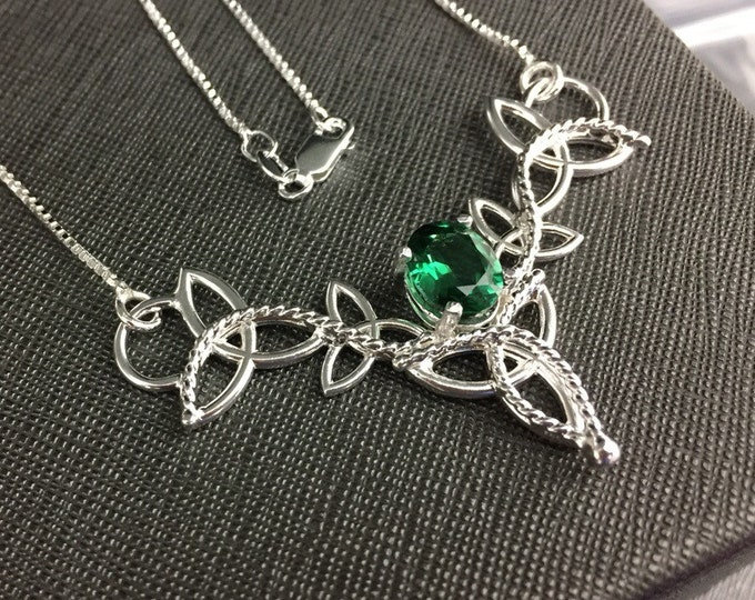 Celtic Knot Emerald Sapphire Peridot Necklace in Sterling Silver, Scottish Necklace, Artisan Handmade Neck Jewelry, Pictish, Irish Designs