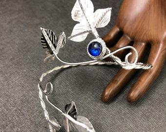 Woodland Wrap Bracelet Cuff in sterling silver, Woodland Ivy Cuff, Elvish Artisan Bracelet Wrap with Gemstone - Sterling silver Handmade