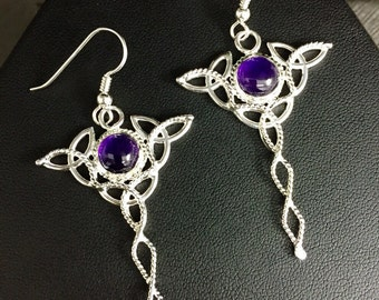 Celtic Trinity Knot Drop Amethyst Earrings in Sterling Silver, Gifts For Her, Dangle Earrings, Irish Wedding, Wedding Accessories