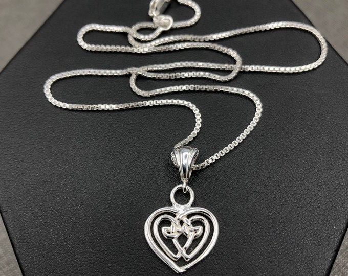 Petite Celtic Heart Necklace in Sterling Silver with Chain, Gifts For Her,Irish Jewelry, Celtic Wedding, Gifts For Her