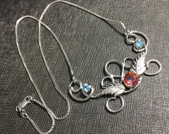 Elvish Bohemian Gemstone Necklace with Blush and Blue Topaz, Handmade Artisan Statement Necklace in Sterling Silver