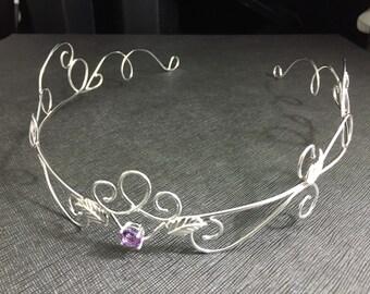 Bohemian Amethyst Wedding Tiara in Sterling Silver, Renaissance Weddings, Forehead Jewelry, Hair Jewelry, Bridal Headpieces