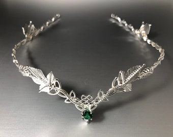 Elvish Celtic Emerald Wedding Tiara in Sterling Silver with Gemstone, Woodland Bridal Tiara, Celtic Weddings, Trinity Knot Celtic Diadems