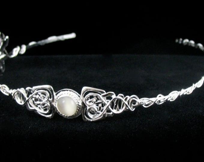 Woodland Celtic Wedding Circlet, Celtic Tiara, Celtic Headpiece, Handmade, OOAK Celtic Circlet, Moonstone Celtic Headpiece, Sterling Silver