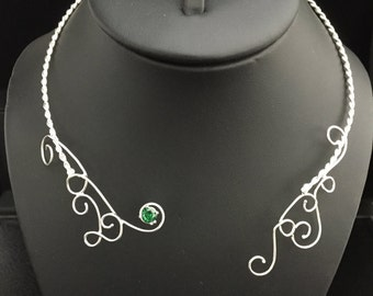 Victorian Bohemian Sterling Silver Handmade Neck Torc, Neck Piece, Neck Torque with Emerald, Fantasy Renaissance Neck Torque, OOAK Neck Torc