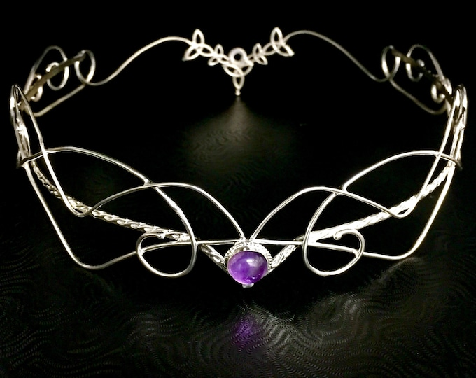 Full Crown, Celtic Trinity Knot Amethyst Headpiece in Sterling Silver, Alternative Bridal Crowns, Irish Diadems, Moonstone Bridal Tiaras