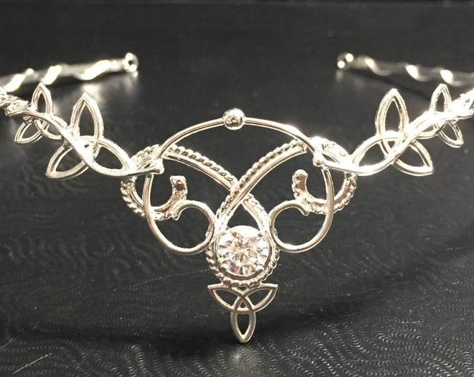 Celtic Bridal Tiara in Sterling Silver, Irish Diadems, Elvish Fantasy Tiaras, Bohemian Headpieces