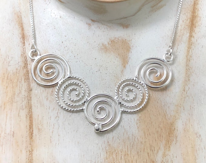 Celtic Spiral Symbol Necklace in Sterling Silver, Artisan Celtic Jewelry, Spiral Scrolling Necklace