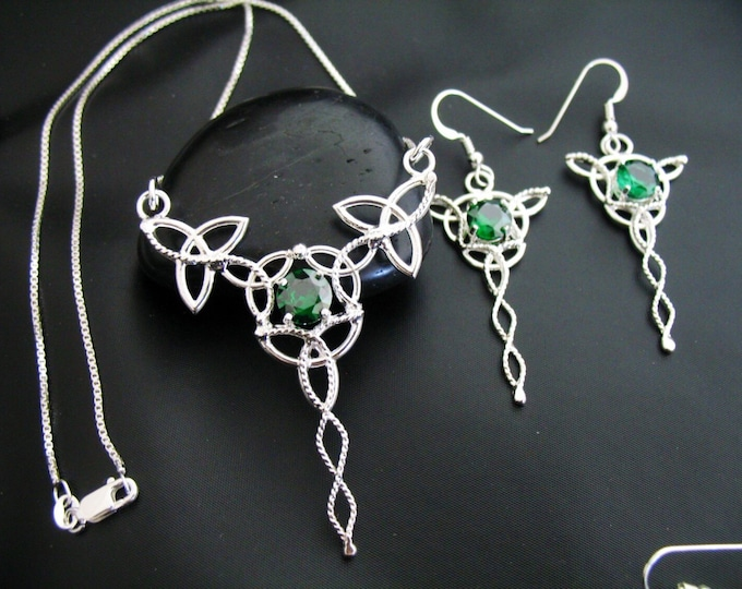 Celtic Knot Gemstone Necklace and Earrings with Faceted Lab Emeralds, Trinity Knot Jewelry Set, 16 Inch Box Chain, Sterling Silver Handmade