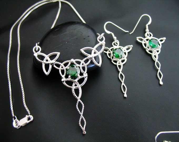 Celtic Knot Emerald Necklace and Earrings in Sterling Silver, Irish Wedding Jewelry Set, Gifts For Her, Wedding Accessories