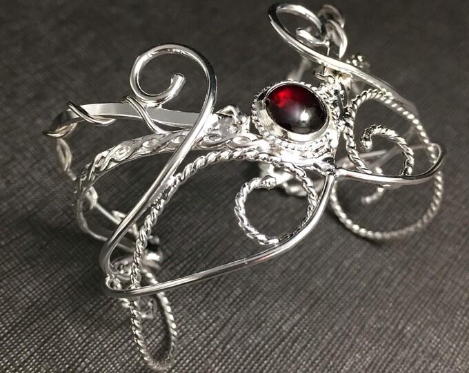Elvish Renaissance Gemstone Bracelet Cuff, Gifts For Her, Artisan Handmade Cuff Bracelet, Size 6
