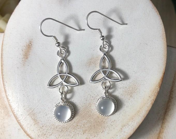 Celtic Triquettra Earrings with 8mm Moonstone Cabochon, Trinity Knot Earrings,  Irish Dangle Drop Earrings, Charmed Knot Trinity Jewelry 925