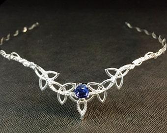 Celtic Irish Gemstone Tiara, Trinity Knot Diadem in Sterling Silver, Celtic Wedding Circlet, Bridal Tiaras