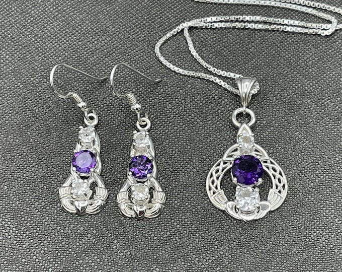 Irish Claddagh Sapphire White Topaz Amethyst, Emerald Necklace Earring Set in Sterling Silver, Artisan Celtic Jewelry Sets, Gifts For Her