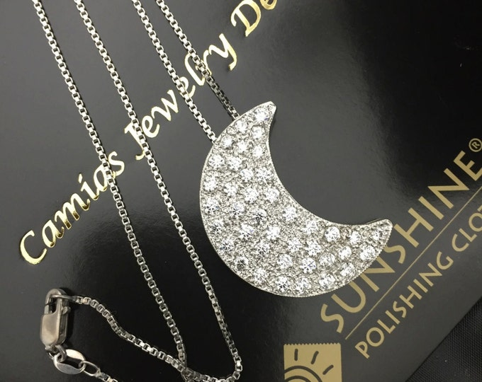 Stevie Nicks Inspired White Topaz Hand-Set Crescent Moon Necklace 18 Inch Chain, Handmade Gemstone Crescent Moons, Stevie Nicks Style