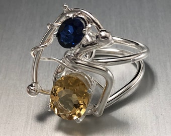 Bohemian Artisan Citrine Sapphire Ring in Sterling Silver, Statement Abstract Boho Rings, Gifts For Her, Multi Gemstone Rings