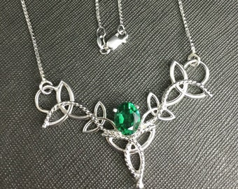 Celtic Knot Gemstone Necklace in Sterling Silver, Scottish Necklace, Artisan Handmade Neck Jewelry, Pictish, Irish Designs