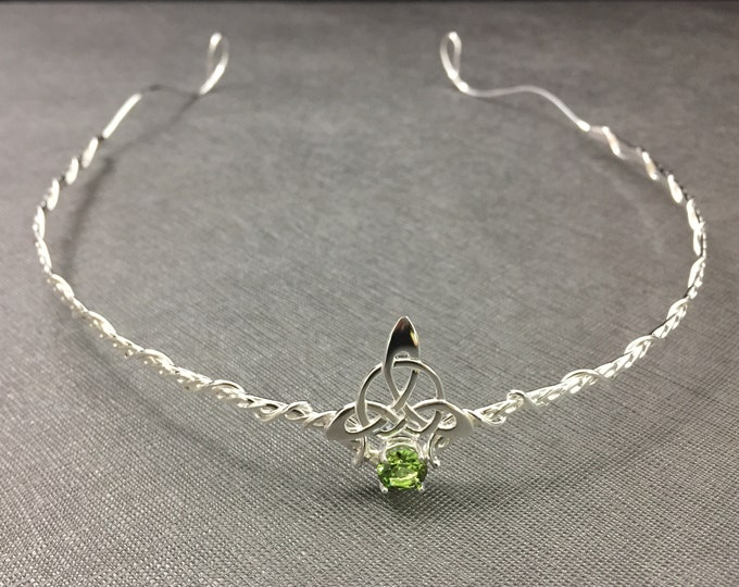 Celtic Tiara with Gemstone in Sterling Silver, Artisan Bridal Tiara, Handmade Irish Headpiece Circlet, Celtic Wedding, Irish Wedding
