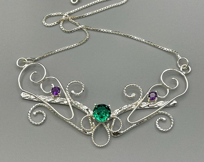 Elvish Emerald Amethyst Necklace in Sterling Silver, Art Nouveau Handmade Necklace, Sterling Silver Wedding necklace, Bridal Necklace