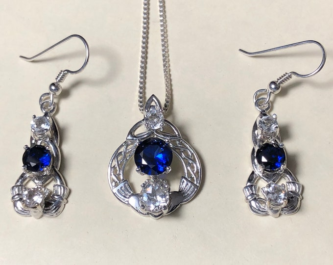Irish Claddagh Sapphire White Topaz Necklace and Earring Set in Sterling Silver, Artisan Celtic Jewelry Sets, Gifts For Her