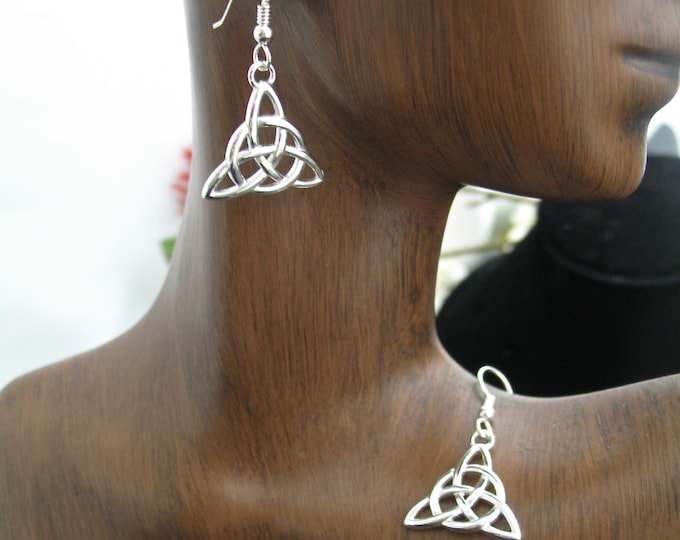 Sterling Silver Irish Trinity Knot Earrings, Celtic Earrings, Celtic Knot Earrings, Renaissance Earrings, Trinity Knot Jewelry