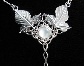 Celtic Woodland Leaf Necklace, Leaf Pendant Necklace, Waldorf Woodland Jewelry, Fae Woodland Gemstone Necklace 16 Inch Box Chain, .925