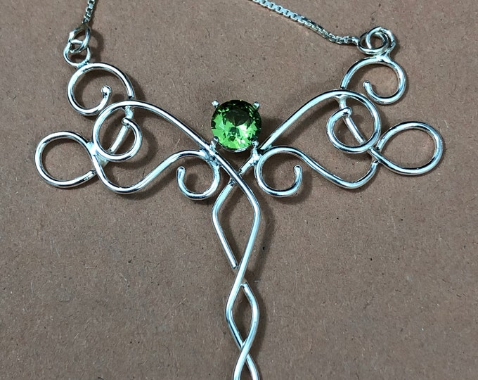 Bohemian Renaissance Celtic Gemstone Necklace in Sterling Silver, Gifts For Her, Artisan Handmade OOAK