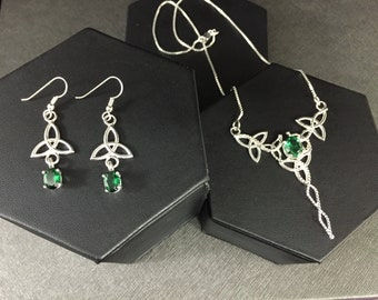 Irish Wedding Necklace & Earrings Set in Sterling Silver, Celtic Earrings, Emerald  Victorian Neck Jewelry, Wedding Set