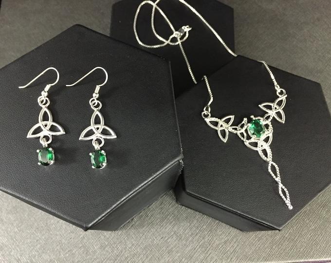 Irish Wedding Necklace & Earrings Set in Sterling Silver, Celtic Earrings, Emerald  Victorian Neck Jewelry, Wedding Set