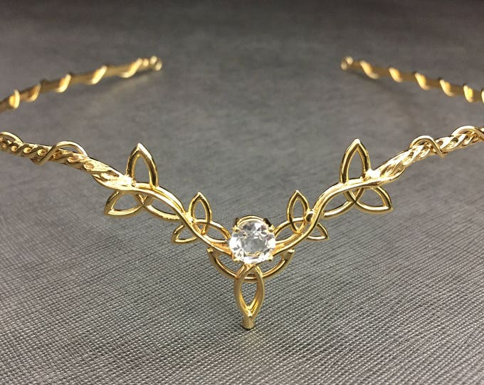 Celtic Knot Wedding Tiara with 24K GoldPlating, Sterling Silver Celtic Wedding Circlet Bridal Headpiece