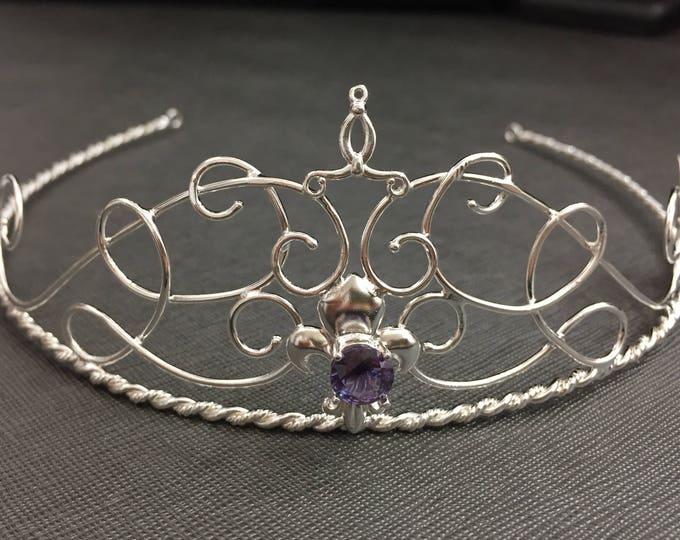 Fleur De Lis Crown Sterling Silver Gemstone Tiara,  Fleur de lis Wedding Tiara Bridal Circlet, French Style Tiara, Elvish Headpiece