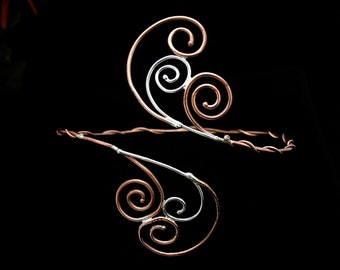 Spiral Scroll Upper Arm Torc  in Sterling Silver and Copper Wire, Bohohemian Fae Arm Cuff, Renaissance Upper Armlet Artisan Handmade