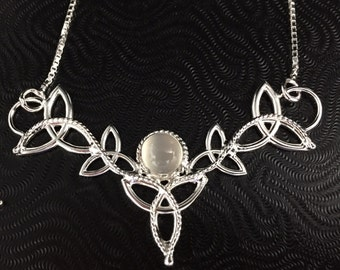 Celtic Knot Moonstone Necklace in Sterling Silver, Artisan Handmade Irish Neck Jewelry, Necklaces with Symbols