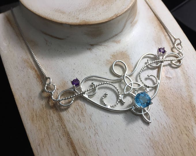 Art Nouveau Sapphire Necklace, Victorian Boho Gemstone Necklace, Sterling Silver OOAK Bohemian Hipster Necklace with Box Chain 925