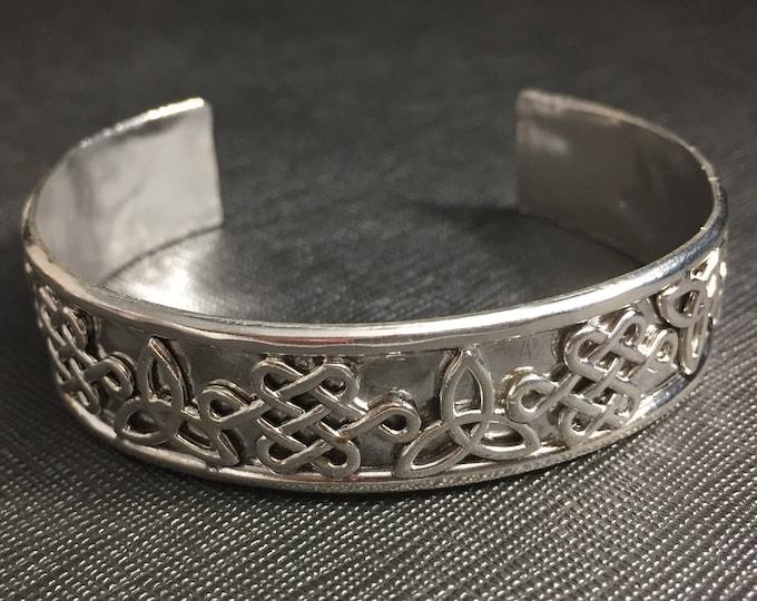 Celtic Trinity Knot Bracelet Cuff in Sterling Silver, Artisan Irish Symbolic Bracelet, Silver Cuff Bracelet 925