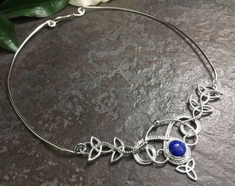 Celtic Trinity Knot Neck Jewelry, Celtic Victorian Neck Ring, Statement Wedding Necklet, Sterling Silver Victorian Chokers, Bohemian Necklet