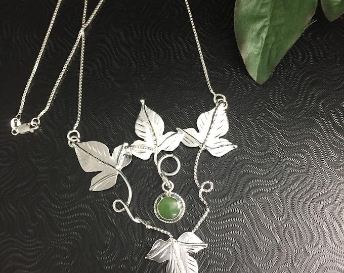 Woodland Leaves Elvish Gemstone Necklace in Sterling Silver, Artisan Necklaces, Gifts For Her, 8mm Gemstone