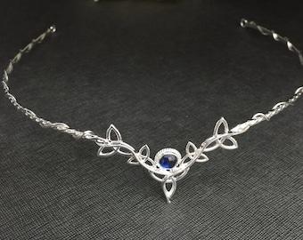 Celtic Wedding Circlet in Sterling Silver, Irish Artisan Tiaras, Gemstone Celtic Diadem, Handmade Celtic Knot Cosplay Headpiece