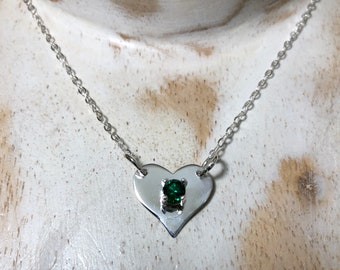 Petite Heart Necklace, Small Heart Gemstone Heart with Sterling Silver 16 Inch Box Chain, Irish Wedding, Celtic Wedding, Celtic Accessories