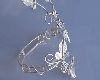 Leaves Woodland Bracelet Cuff in Sterling Silver, Forearm Handmade cuff bracelet, Nature inspired  Leaf Forearm Wrap Cuff
